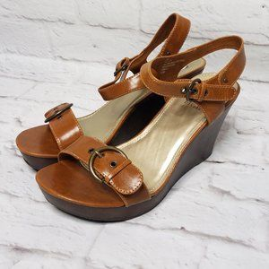 Decree Roxandria Cognac Tan Wedge Sandals NWT